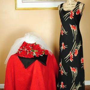 Positive Attitude Maxi Black Dress w/ Floral